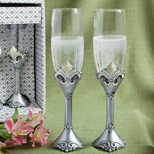Fleur de lis Wedding Toasting Flutes Set of 2 Toasting Glasses