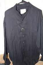 NEW STUBBS Western Banded Collar Cowboy Shirt XL Herringbone Tencel w/ Buttons
