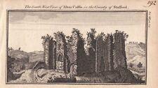 Staffordshire ruinas del castillo Grabado Cobre Antiguo Original Alton impresión 1770