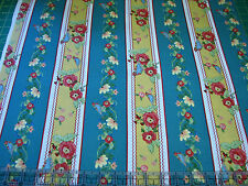 3 Yards Quilt Cotton Fabric - ITB Ranunculus Floral Bird Stripe Mustard Teal
