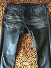 Chic!! ROCK & REPUBLIC Black Washable Skinny Leather & Denim Jean Sz 27