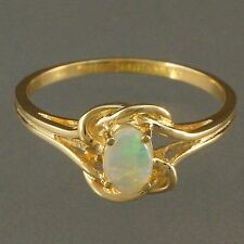 Beautiful, Solid 14K Yellow Gold & .45 ct. Opal, Oval Cabochon, Split Shank Ring