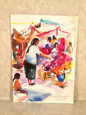Mexican Market Watercolor Painting Signed by Ethel Lunenfeld Philadelphia PA Art