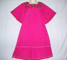 VTG FUCHSIA COTTON QUALITY MEXICAN FESTIVE EMBROIDERY DRESS NIGHTGOWN M TO L