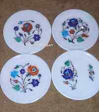 Set of 4 Marble Serving Dish Plates Lapis Inlay Floral Table Decor Gifts H2845