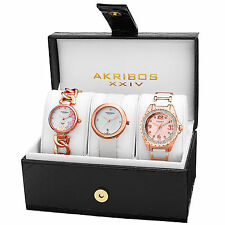 New Women's Akribos XXIV AK887RG Rose-tone Diamond Bracelet/Strap Watch Set
