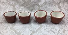 Guernsey Cooking Ware Set of 4 Custard Cups Brown Outside Cream Inside Vtg