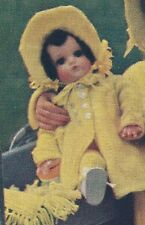 "Vintage Knitting PATTERN to make Doll Clothes 18"" Coat Bonnet Leggings ChildDoll"