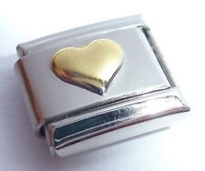 GOLD HEART Italian Charm - fits 9mm Classic Starter Bracelets - I Love You N206