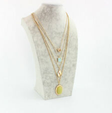 14K Gold Plated Turquoise Lemon Jade Pendent 4layers necklace