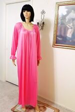 MISS ELAINE Soft Nylon Antron vintage HOT PINK Long Sleeved Nightgown size Large