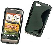 Rubber in Silicone TPU Case Cover per Cellulare Nero + Pellicola protettiva display per HTC One V