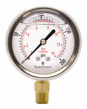 "2-1/2"" Oil Filled Pressure Gauge - SS/Br 1/4"" NPT Lower Mount 200PSI"
