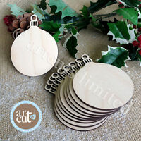 Wooden ROUND BAUBLES Christmas Decorations Tags Art Craft Embellishments x 10