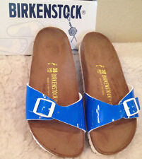 NWT BIRKENSTOCK Madrid NEON BLUE PATENT Sandals Shoes size 40 Womens 9 - 9 1/2