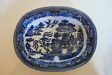 "Antique Allertons England Blue Willow Oval Vegetable Bowl  9"" wide"