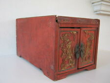 Antique Chinese gold gilt and red wood wooden box