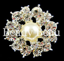 PK OF 2 LARGE CRYSTAL RHINESTONE DIAMANTE PEARL SHANK BUTTON DRESS CRAFT