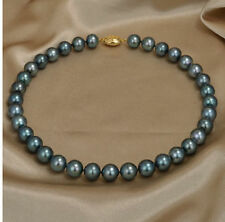 "18""11-12 mm round tahitian black green pearl necklace"