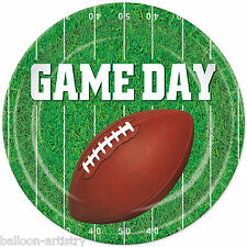 """8 American Football GAME DAY Party Green Round 9"""" Paper Plates"""