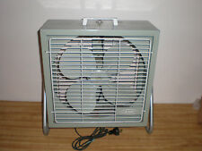 """VINTAGE ELECTRIC AMC METAL 2 SPEED BOX FLOOR FAN ON STAND 14"""" X 14"""" X 5 3/4"""""""