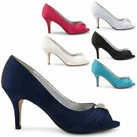 WOMENS LADIES PARTY PROM STILETTO MID HIGH HEEL WEDDING BRIDAL COURT SHOES SIZE