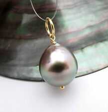 BEAUTIFUL 24K VERMEIL TAHITIAN 13.3x15mm PEACOCK CULTURED PEARL PENDANT AA+