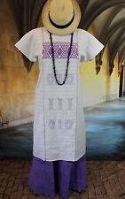 Lavender & White Huipil Dress, Hand Woven Cotzocon, Mexican 100% cotton Hippie