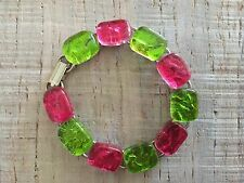 """Green Red Pink Christmas Fused Dichroic Art Glass Jewelry Link Bracelet 7 1/4"""""""