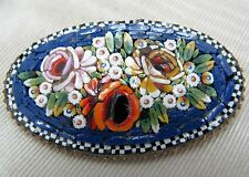 Lovely Vintage Micro Mosaic Brooch with a Dark Blue Background - Italy