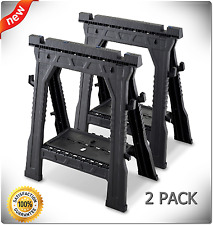 Blue Hawk 2 Pack 32 in Plastic Folding Saw Horse 1,000-lb Weight Capacity Sturdy