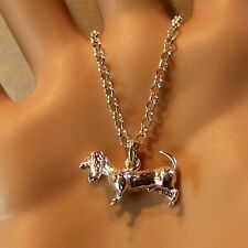 SILVER second hand dachshund dog pendant & chain
