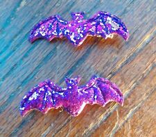 Purple Bat Hair Clips - Halloween - Glitter Sparkly