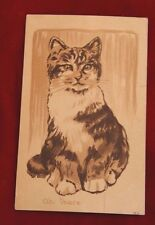 EARLY rare Vintage Cat Postcard 1909 charcoal pencil sketch
