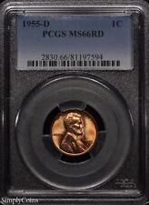 1955-D Lincoln Wheat Penny Cent ~ PCGS MS66 RED ~ STUNNING!