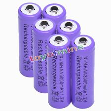 6x AA 1.2V 3000mAh Ni-MH rechargeable battery 2A cell /RC Purple