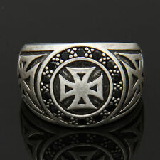 MENS PUNK GOTH BIKER IRON CROSS MALTESE CROSS .925 STERLING SILVER RING SIZE 7