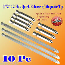 "10x 6""/2"" Phillips #2 Screw Driver Bit Quick Release Hex Shank Magnetic Tip PH2"