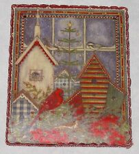 """Stony Creek Red Multi 3 3/4 X 4 3/4"""" Cardinal Bird by House Wall Hanging Picture"""