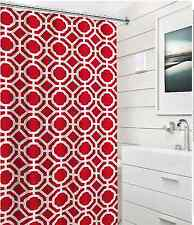 Red White Fabric Shower Curtain: Geometric Ring Link Honeycomb Design with Hooks