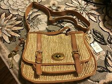 FOSSIL VINTAGE REISSUE MESSENGER CROSSBODY SWINGPACK LEATHER STRAW NATURAL $210+