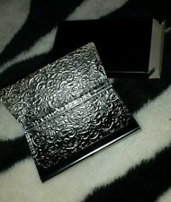 METAL BUSINESS CARD HOLDER/ ID CASE DAMASK EMBOSSED SILVER