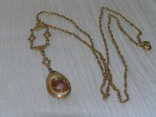 Vintage Long Goldtone Chain with Ornate Frame & Teardrop Cameo Couple Pendant