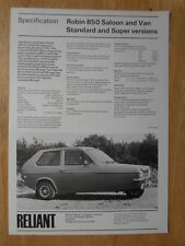 RELIANT ROBIN 850 & VAN 1977 UK Mkt Sales & Specs Leaflet Brochure
