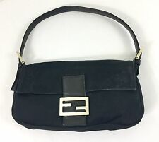 FENDI Black Baguette Shoulder Bag Handbag Neoprene Fabric HAS FLAWS
