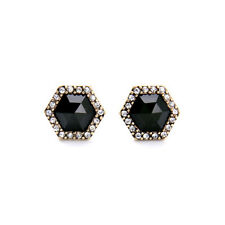 Atlas Hexagon Stud Earrings Brand Sparkling Crystal Pave Bold Jet Black Center