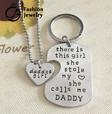 Personalized Father Daughter Pendant Necklace/ Keyring Set With Colored Charm