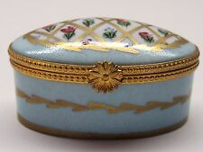 VTG LIMOGES J DUMONT HAND PAINTED OVAL TRINKET BOX TIFFANY BLUE w EASTER FLOWERS