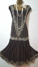 JOANNA HOPE 20S CHARLESTON DECO DOWNTON FLAPPER BEAD/SEQUIN/EMBELLISH DRESS 22