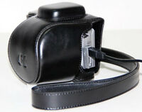 (BLACK) Camera Compact Leather Case Pouch Bag For SONY NEX 5R 5T + STRAP